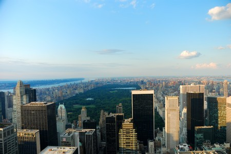 Central park in New York City with city skyline photo
