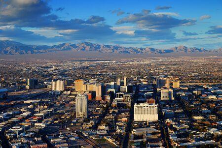 Modern City skyline. Las Vegas aerial view with mountain