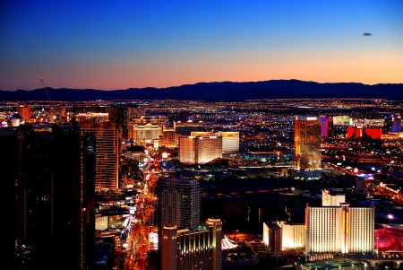 Las Vegas skyline at sunset with hotel illuminated. Stock Photo - 7324259