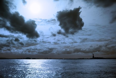 Moon night with Statue of Liberty. New York City. photo