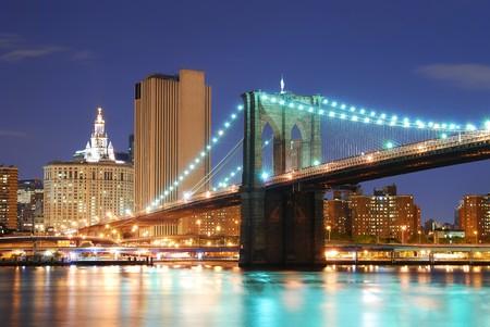hudson: New York City Manhattan skyline and Brooklyn Bridge at dusk over Hudson River with skyscrapers