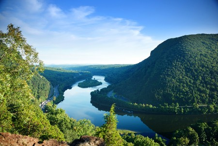 Mountain peak view with blue sky, river and trees from Delaware Water Gap, Pennsylvania.  photo