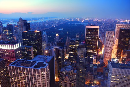 New York City Central Park aerial view panorama with Manhattan skyline and skyscrapers at dusk photo
