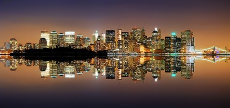 pano: New York City Manhattan Skyline at night with reflection