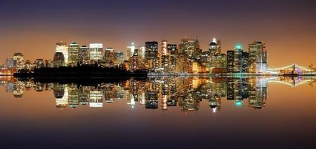 New York City Manhattan Skyline at night with reflection