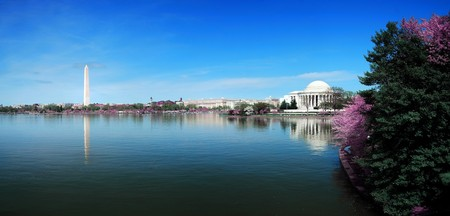 Washington DC panorama with Washington monument and Thomas Jefferson memorial with cherry blossom.  Editorial