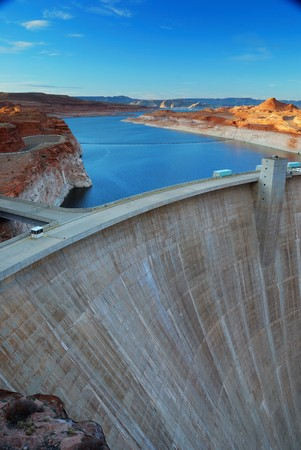 lake powell: Glen Canyon Dam panorama with Colorado River in Lake Powell at Page, Arizona.