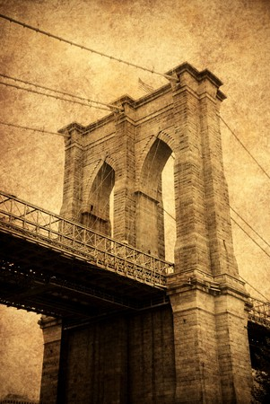 manhattan bridge: New York City Brooklyn bridge old fashion style close up.