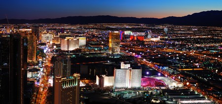 Luxury Hotel on Las Vegas Strip with City skyline panorama night view photo