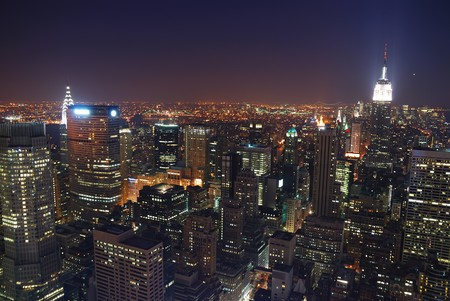 New York City Manhattan skyline night panorama aerial view with Empire State Building and skyscrapers
