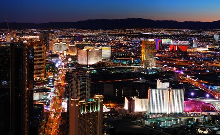 pano: Las Vegas strip aerial view. Las Vegas City skyline panorama night view with luxury hotel illuminated. Stock Photo