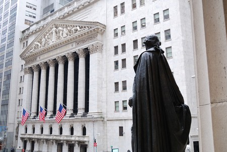 Wall Street, New York City, with Washington Statue and New York Stock Exchange.