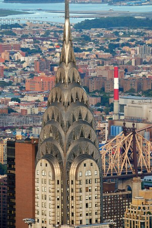 New York City Manhattan aerial view with Chrysler Building and skyscrapers.  Stock Photo - 8042617