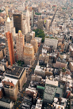 New York City Manhattan aerial skyline panorama view with skyscrapers and office buildings on street.  photo