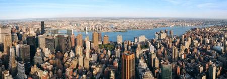 西ハドソン川と夕暮れ高層ビルからのニュージャージーとニューヨーク市マンハッタン空中パノラマ ビュー。 写真素材