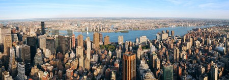 New York City Manhattan aerial panorama view with New Jersey from west Hudson River and skyscrapers at sunset. 스톡 콘텐츠