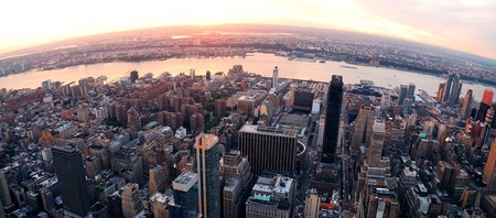 hudson river: New York City Manhattan aerial panorama view with New Jersey from west Hudson River and skyscrapers at sunset. Stock Photo