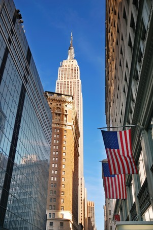 Empire State Building in New York City Manhattan Fifth Avenue with street view and skyscrapers. Stock Photo - 8201609