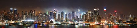 New York City Manhattan skyline panorama at night over Hudson River with refelctions viewed from New Jersey Stock fotó