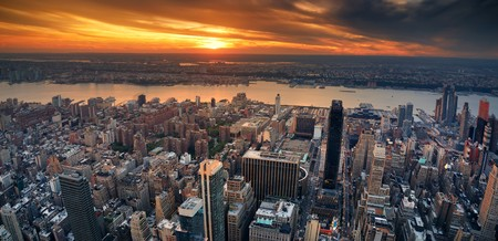 New York City Manhattan aerial panorama view with New Jersey from west Hudson River and skyscrapers at sunset. photo