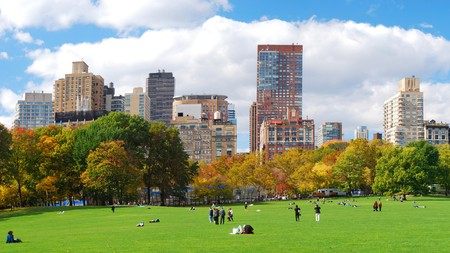 New York City Manhattan skyline panorama viewed from Central Park with cloud and blue sky and people in lawn. 版權商用圖片 - 8267621