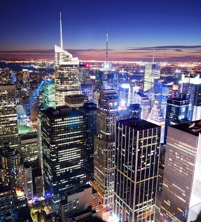 New York City Manhattan panorama skyline sunset aerial view with Times Square.