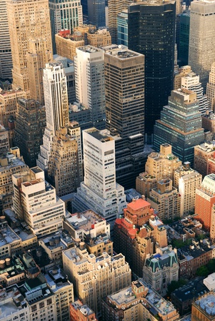 New York City Manhattan aerial skyline panorama view with skyscrapers and office buildings on street. Stock Photo - 8339524