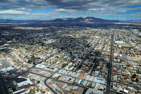 Modern City skyline. Las Vegas Skyline aerial view with hotels on strip. photo