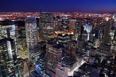 Urban city architecture. New York City Manhattan skyline aerial view with Empire State Building and Times Square at sunset. Stock Photo