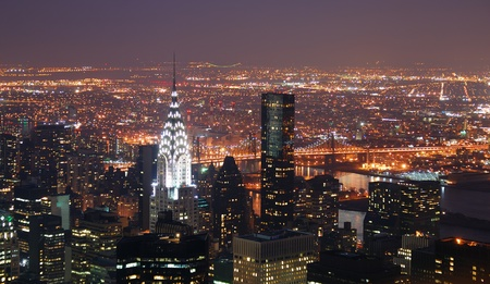 historic buildings: New York City Manhattan skyline with Chrysler building and skyscrapers aerial view.