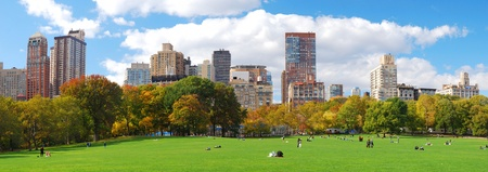 New York City Manhattan skyline panorama viewed from Central Park with cloud and blue sky and people in lawn.