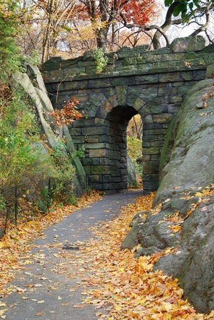 autumn in the city: Stone bridge in Autumn in New York City Central park. Stock Photo