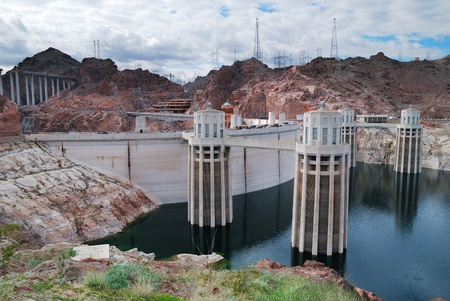 Hoover Dam panorama over Colorado River on the boarder between Arizona and Nevada.  photo