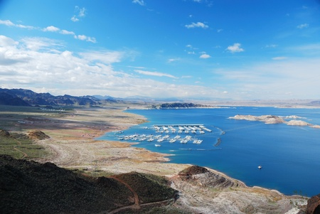 mead: Lake mead panorama on Colorado River. Lake mead is the largest reservoir in the United States.