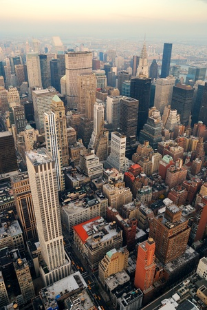 New York City Manhattan skyline aerial view with street and skyscrapers. photo