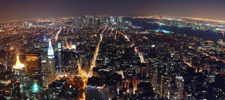 New York City aerial view panorama with Manhattan skyline at night.  photo