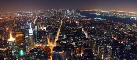 New York City aerial view panorama with Manhattan skyline at night.  photo
