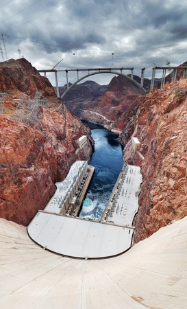 Hoover Dam panorama over Colorado River on the boarder between Arizona and Nevada.  Stock Photo - 8462275