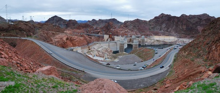 Hoover Dam panorama over Colorado River on the boarder between Arizona and Nevada. Stock Photo - 8462273