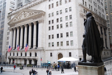wall street: NEW YORK CITY - JAN 1: Wall Street with New York Stock Exchange in Manhattan Finance district during United States economy recovery, January 1, 2010 in Manhattan, New York City.
