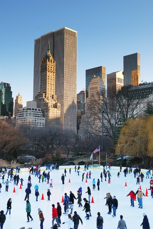skate park: NEW YORK CITY - JAN 1: Ice-skating people with white Christmas in Central Park welcome the new year of 2010 on January 1, 2010 in Manhattan, New York City.  Editorial