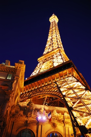 Las Vegas, Nevada - March 4,  Eiffel tower of Paris Hotel in Las Vegas illuminated at night, March 4, 2010 in Las Vegas, Nevada. Editorial