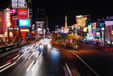 featured: LAS VEGAS - MAR 4: Vegas Strip at night on March 4, 2010 in Las Vegas, Nevada. The Las Vegas Strip is 3.8 mile stretch featured with world class hotels and casino.