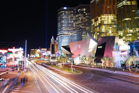 Las Vegas, Nevada - March 4, Paris Hotel and Casino with colorful light and traffic, March 4, 2010 in Las Vegas, Nevada. Stock Photo - 8500625