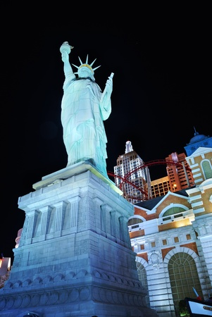 Las Vegas, Nevada - March 4,  Statue of liberty from New York New York Hotel illuminated at night., March 4, 2010 in Las Vegas, Nevada.