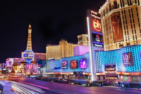 Las Vegas, Nevada - March 4, Paris Hotel and Casino with colorful light and traffic, March 4, 2010 in Las Vegas, Nevada.