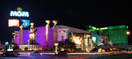 LAS VEGAS - MAR 4: MGM Grand Hotel panorama at night on March 4, 2010 in Las Vegas, Nevada. The MGM Grand is the second largest hotel in the world and second largest hotel resort complex in the United States. Editorial