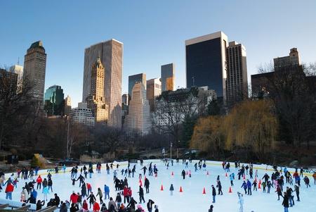 뉴욕 시티 -1 월 1 일 : 센트럴 파크에서 화이트 크리스마스 아이스 스케이팅 사람들이 2010 년 1 월 1 일 맨하탄, 뉴욕시에서 2010 년 새해 환영합니다. 에디토리얼