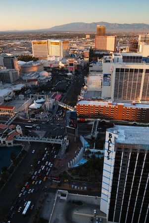 LAS VEGAS - MAR 4: City skyline at sunset marking the start of the fabulous night life of the city, March 4, 2010 in Las Vegas, Nevada.  Stock Photo - 8533027