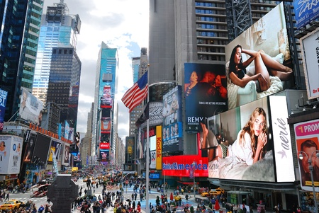 featured: NEW YORK CITY - SEP 5: Times Square, featured with Broadway Theaters and LED signs, is a symbol of New York City and the United States, September 5, 2010 in Manhattan, New York City.
